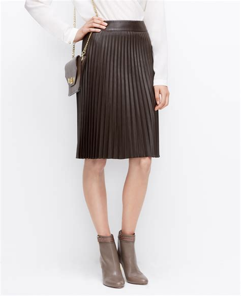 faux leather pleated skirt in brown lyst