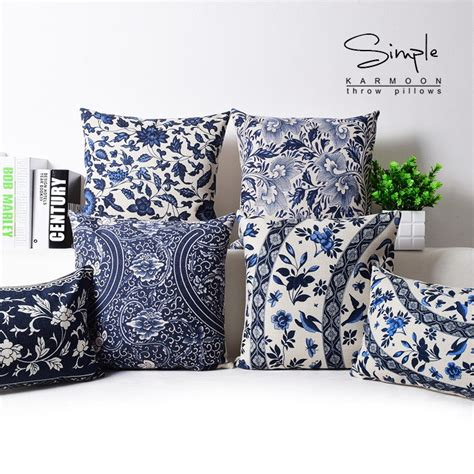 white patterned cushions oriental floral cushion cover blue white chinese style