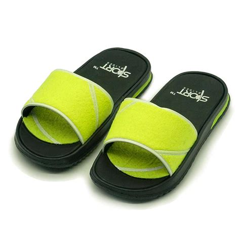 yellow slippers tennis sportslide sandal black yellow slippers