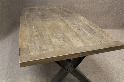 metal base table  sturdy industrial style table   oak top