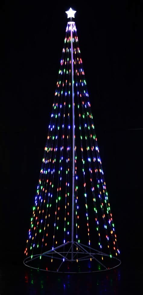 144 12 ft outdoor multi color led cone tree w collapsible