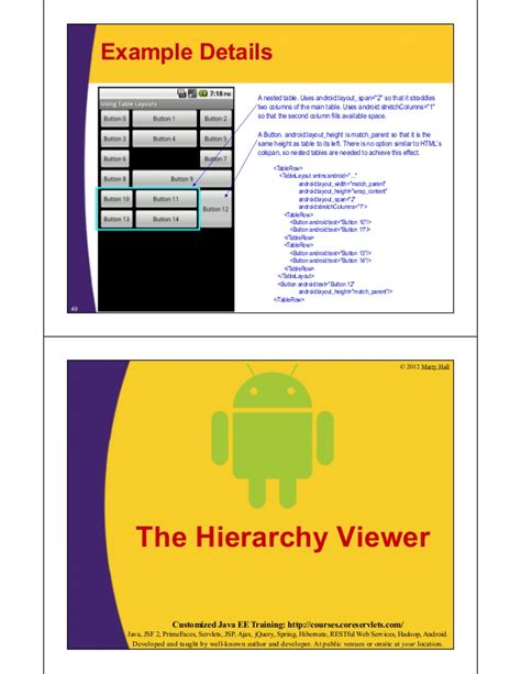 nested table layout in android android layouts