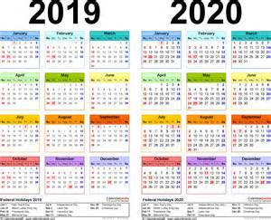 year calendar template 2019 2020 calendar free printable two year word calendars