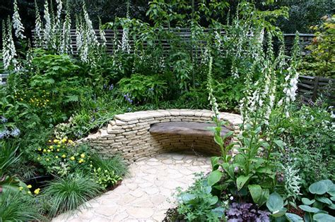backyard gardening ideas with pictures stone bench in garden this garden design image is in
