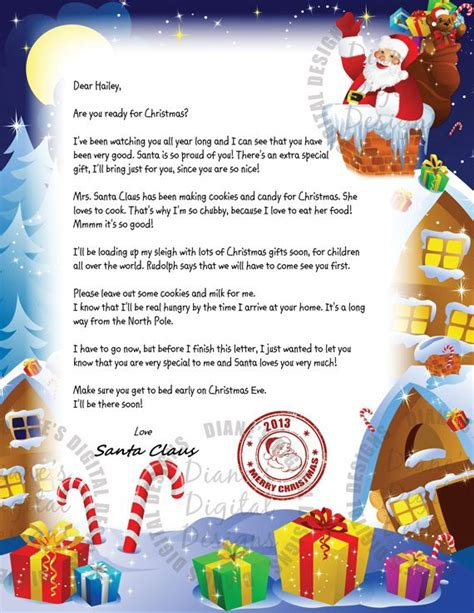 Items Similar To Personalized Letter From Santa Claus Custom Letter From Santa Template