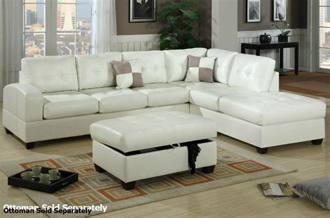 reese sectional poundex reese f7359 white leather sectional sofa steal a