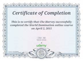 Certificate of completion udemy