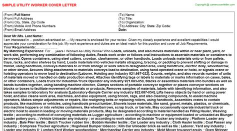 Utility Worker Cover Letter by Utility Worker Cover Letters