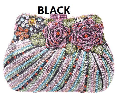 Flower Mini Clutch bridal purse with flower sequin rhinestone