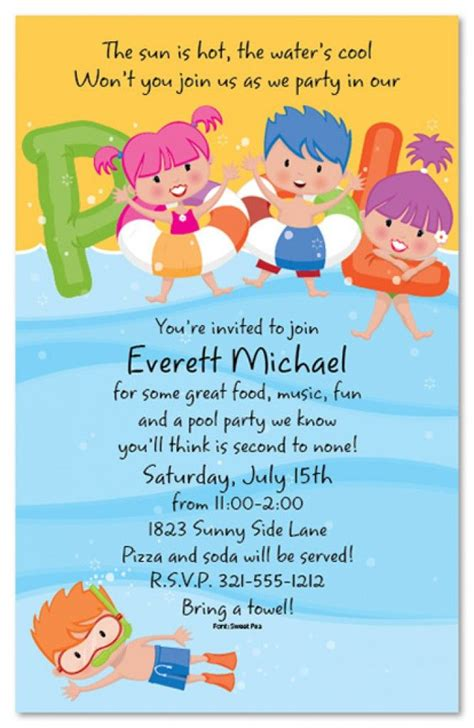 Free Printable Kids Pool Party Invitations Templates 4 Kids Birthday Possibilities In 2019 Free Childrens Invites Templates