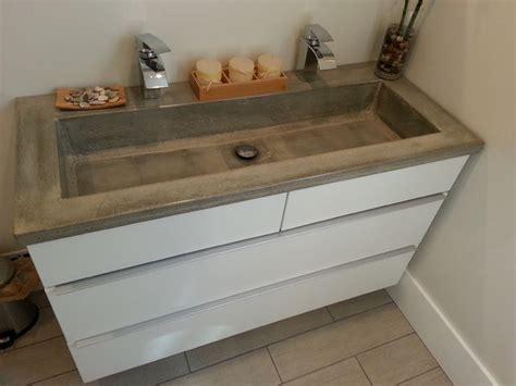 bathroom vanity concrete countertop with rectangular