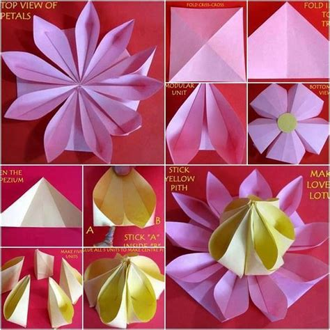 How To Make A Paper Lotus Step By Step - easy paper folding crafts recycled things