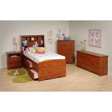 youth twin bedroom sets 4 piece tall twin youth bedroom set in cherry cbt 4106 pkg1