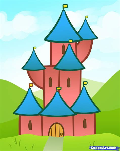 for kindergarteners how to draw a castle for step by step for