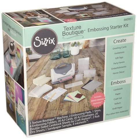 embossing kits card sizzix 660951 texture boutique embossing machine starter