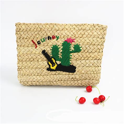 monogram women clutch bagchunky straw woven bag