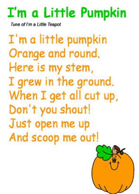 song poem quot i m a pumpkin quot song to the tune of quot i m a