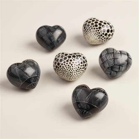 Soapstone Hearts black and white soapstone hearts set of 6 world market