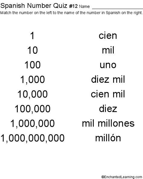 printable spanish numbers quiz spanish numbers printable quiz 1 100 number chart 1 to