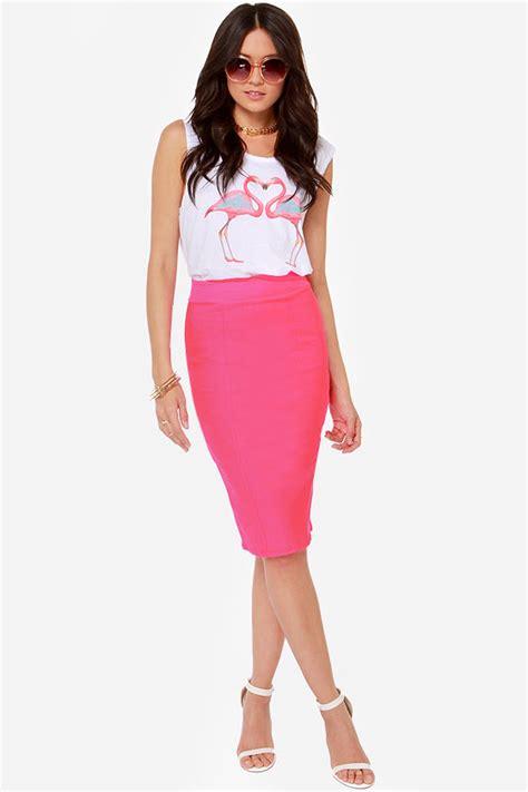 neon pink skirt midi skirt pencil skirt 34 00