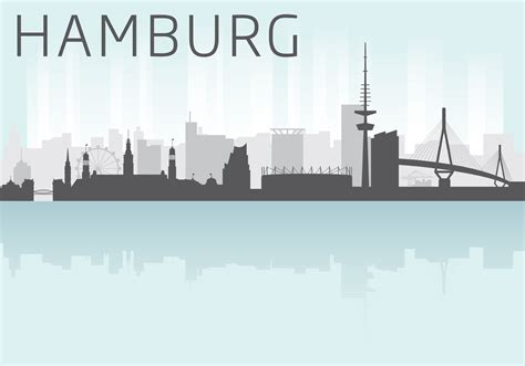 Sunset Color by Hamburg Skyline Vector Download Free Vector Art Stock