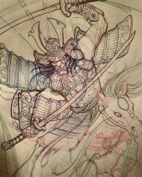 samurai sketch in progress chronicink asianink tattoo