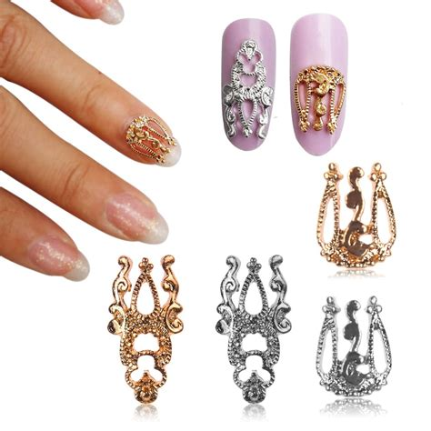 3d Nail Sticker 10pcs 3d glitter alloy hollow out nail sticker slices charm diy nail jewelry ebay