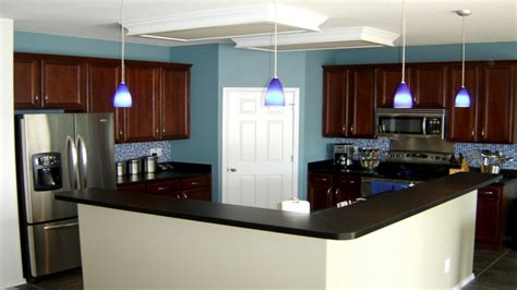 Blue Kitchen Walls With Brown Cabinets Kitchen Wall Colors With Cabinets Kitchen With Brick Accent Wall Blue Kitchen Walls With