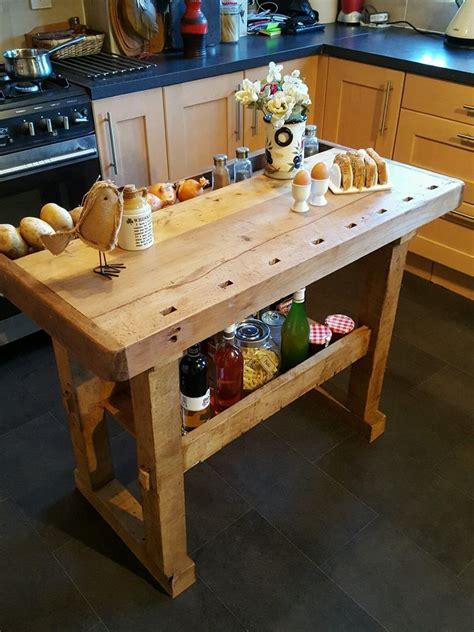 butcher block prep table vintage workbench kitchen island butchers block prep