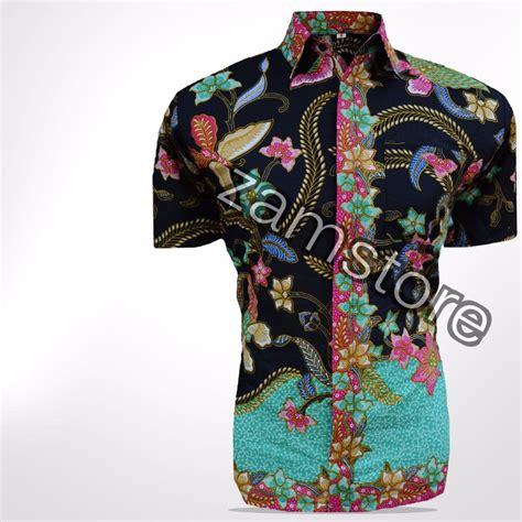 Batik Pekalongan Kain Prada Emas baju batik pria eksklusif kemeja lengan pendek motif
