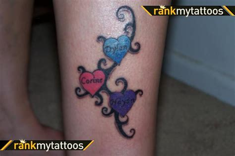 heart tattoo designs with kids names tattoos with names for three hearts