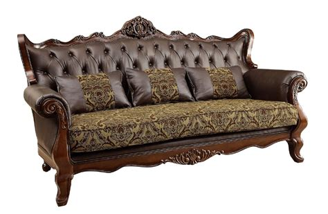 Leather Sofa With Wood Trim Kamilah Wood Trim Leather Fabric Sofa Cm6787 Sf