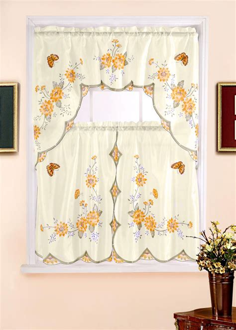 curtains set floral complete tier swag set kitchen curtain set