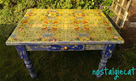 Decoupage Table Top - nostalgiecat napking decoupage table top makeover