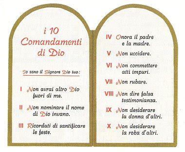 tavole 10 comandamenti i dieci comandamenti