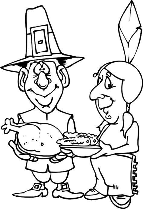 thanksgiving coloring page pilgrim indian with food