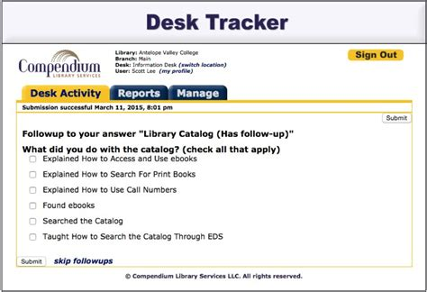 Desk Tracker by The Antelope Valley College Library S Transition To Desk