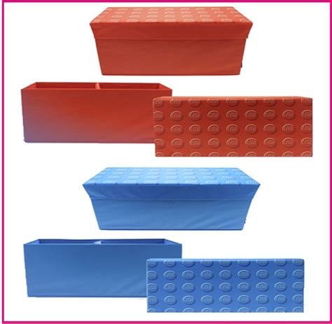 toy box seat bench lego storage bench box red blue kids childrens large toy chest box padded seat ebay