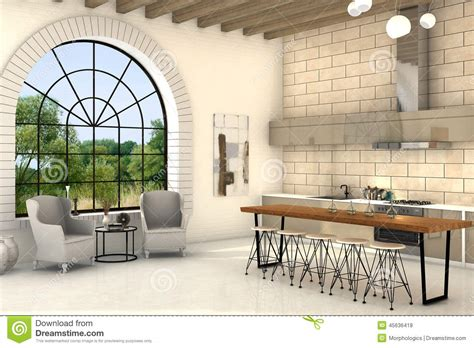 Mediterranean Style House Plans cozy kitchen with big round window and big table stock