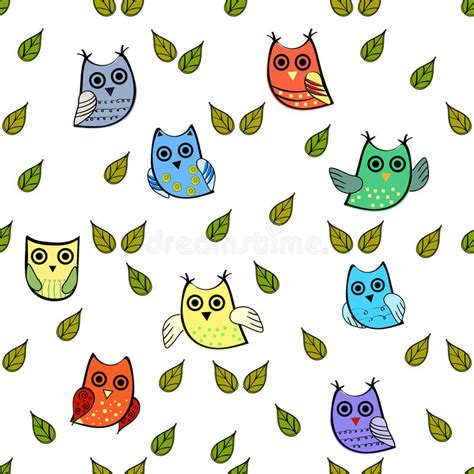 owl pattern vector free download owl and leaves vector seamless pattern stock vector