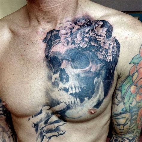 tattoo chest skull chest tattoos for men men s tattoo ideas