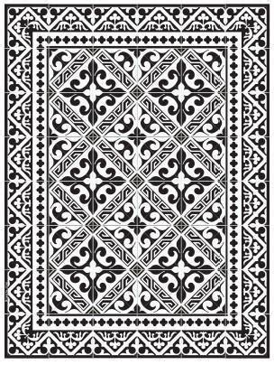 beija tile inspired mat black  white fleur de lis