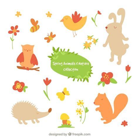 afbeelding bloemen met dier schattige dieren en bloemen vector gratis download