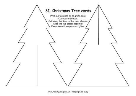 3d Christmas Tree 3d Tree Card Template