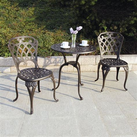 Shop Darlee New Port 3 Piece Bronze Metal Frame Bistro 3 Patio Dining Set