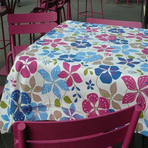 Table De Jardin Ronde 1933 by Nappe Enduite Ronde Ou Ovale Capucines Bleu