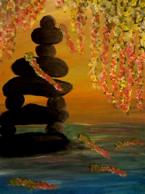 painting in the books beautiful zen pond painting by zelaya