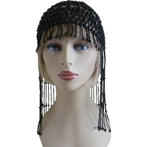 beaded headdress vintage s mid eastern black beaded headdress sold on