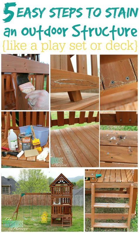 easy steps  stain  outdoor structure  turquoise
