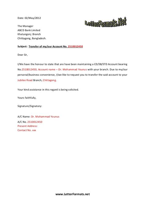account cancellation letter bank bank account transfer letter